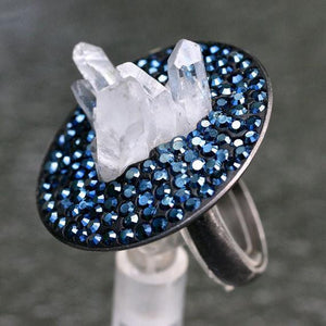 Rhodium plated silver ring with Rock crystal & swarovski crystals - Zulasurfing Jewelry  - 2