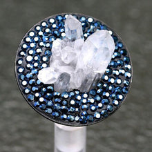 Load image into Gallery viewer, Rhodium plated silver ring with Rock crystal & swarovski crystals - Zulasurfing Jewelry  - 1