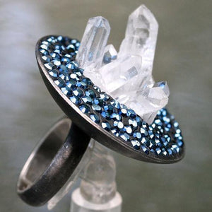 Rhodium plated silver ring with Rock crystal & swarovski crystals - Zulasurfing Jewelry  - 3