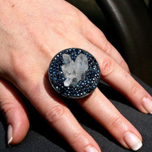 Load image into Gallery viewer, Rhodium plated silver ring with Rock crystal & swarovski crystals - Zulasurfing Jewelry  - 4