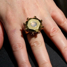 Load image into Gallery viewer, Enourmous gold plated diamond brass ring with chalcedony size 6 - Zulasurfing Jewelry  - 3
