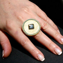 Load image into Gallery viewer, Gold plated brass ring with swarovski crystals size 6.5 - Zulasurfing Jewelry  - 3