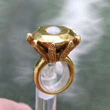 Load image into Gallery viewer, Enourmous gold plated diamond brass ring with chalcedony size 6 - Zulasurfing Jewelry  - 4