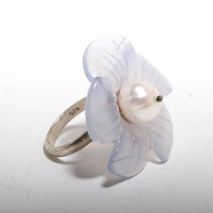 Beautiful sterling silver flower chalcedony and white pearl ring size 6 - Zulasurfing Jewelry  - 3