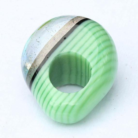 Chunky Dichroic glass Ring green with gold - Zulasurfing Jewelry  - 1
