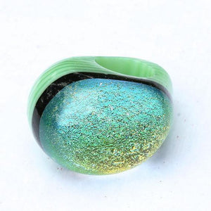 Chunky Dichroic glass Ring green with gold - Zulasurfing Jewelry  - 3