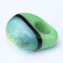 Load image into Gallery viewer, Chunky Dichroic glass Ring green with gold - Zulasurfing Jewelry  - 4