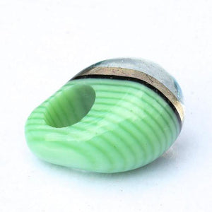 Chunky Dichroic glass Ring green with gold - Zulasurfing Jewelry  - 5