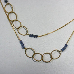 Circle of life necklace Gold filled and iolite necklace - Zulasurfing Jewelry  - 2