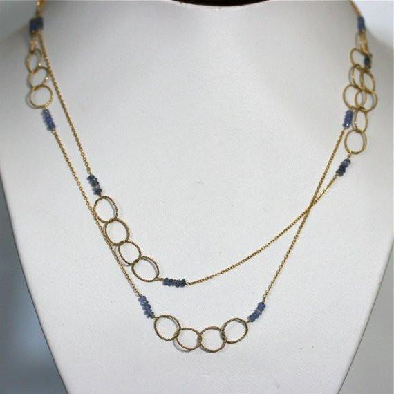 Circle of life necklace Gold filled and iolite necklace - Zulasurfing Jewelry  - 1