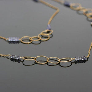Circle of life necklace Gold filled and iolite necklace - Zulasurfing Jewelry  - 4