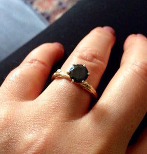 Branch engagement ring in 10k and 14k gold and black diamond ring size 5 3/4 - Zulasurfing Jewelry  - 3
