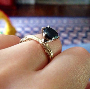 Branch engagement ring in 10k and 14k gold and black diamond ring size 5 3/4 - Zulasurfing Jewelry  - 2