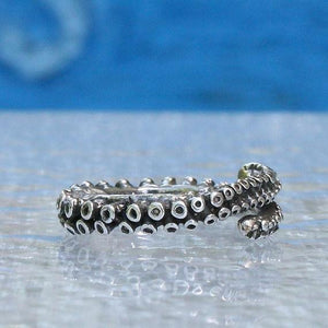Small octopus tentacle adjustable silver ring - Zulasurfing Jewelry  - 3