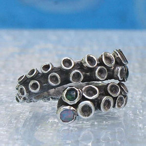 Octopus Tentacle Sterling silver ring with tourmaline & opal doublets - Zulasurfing Jewelry  - 2