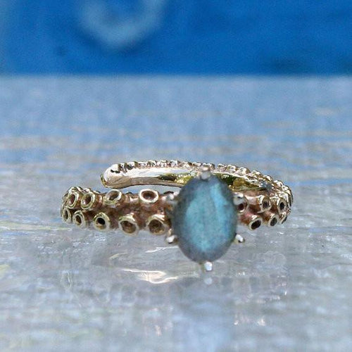 10k & 14k Gold Octopus Tentacle Ring with a Labradorite stone - Zulasurfing Jewelry  - 1