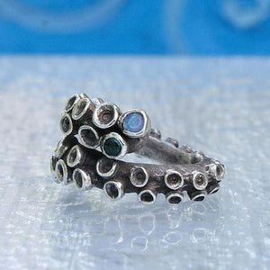 Octopus Tentacle Sterling silver ring with tourmaline & opal doublets - Zulasurfing Jewelry  - 4