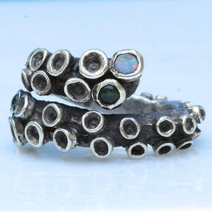 Octopus Tentacle Sterling silver ring with tourmaline & opal doublets - Zulasurfing Jewelry  - 1