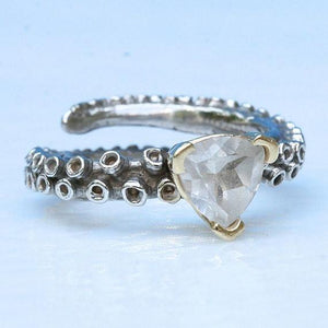 14k gold Octopus tentacle ring with a white topaz stone - Zulasurfing Jewelry  - 3