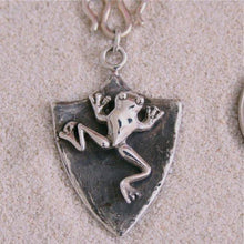 Load image into Gallery viewer, Sterling Silver Frog Shield Necklace - Zulasurfing Jewelry  - 1