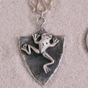 Sterling Silver Frog Shield Necklace - Zulasurfing Jewelry  - 1