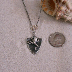 Sterling Silver Frog Shield Necklace - Zulasurfing Jewelry  - 2