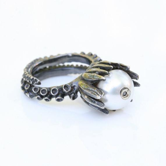 Octopus tentacle silver set with pearl and brown diamonds - Zulasurfing Jewelry  - 4