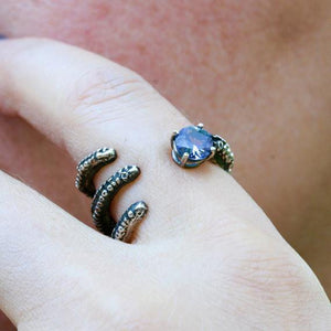 Octopus tentacle sterling silver with Tanzanite ring - Zulasurfing Jewelry  - 3