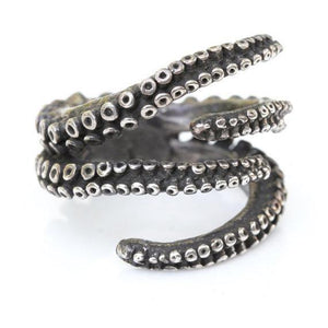 Beautiful octopus ring sterling silver tentacle claw adjustable ring - Zulasurfing Jewelry  - 3