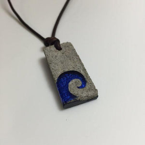 Surfer Necklace with Wave Art Concrete & glass Pendant -30% off - Zulasurfing Jewelry  - 4