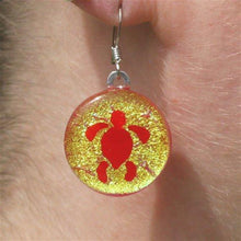 Load image into Gallery viewer, Turtle Earrings Gold Dichroic Glass - Zulasurfing Jewelry  - 1