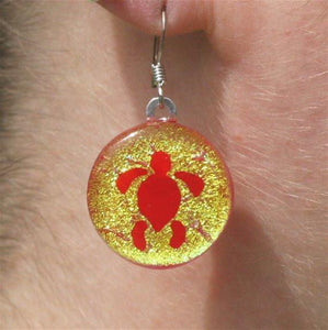 Turtle Earrings Gold Dichroic Glass - Zulasurfing Jewelry  - 1