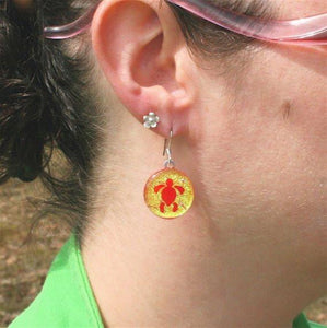 Turtle Earrings Gold Dichroic Glass - Zulasurfing Jewelry  - 2