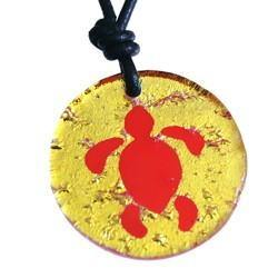 Turtle Earrings Gold Dichroic Glass - Zulasurfing Jewelry  - 3