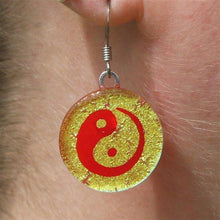 Load image into Gallery viewer, Chinese Yin Yang gold color fused dichroic glass earrings - Zulasurfing Jewelry  - 1