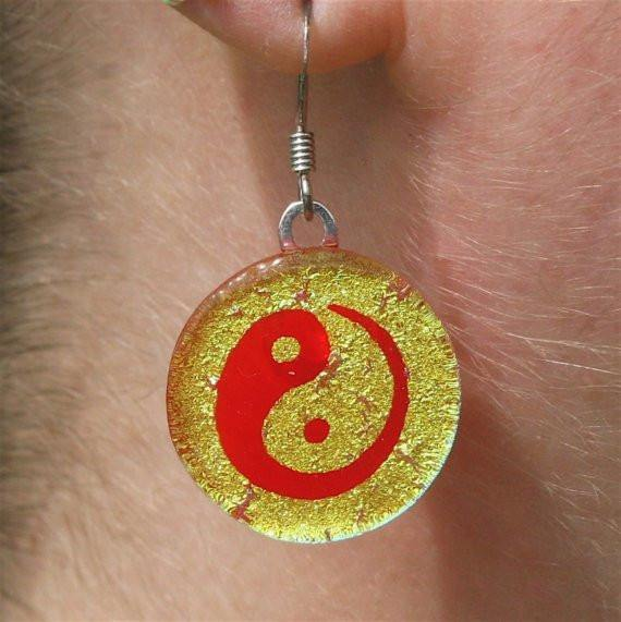 Chinese Yin Yang gold color fused dichroic glass earrings - Zulasurfing Jewelry  - 1