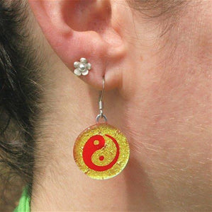 Chinese Yin Yang gold color fused dichroic glass earrings - Zulasurfing Jewelry  - 2