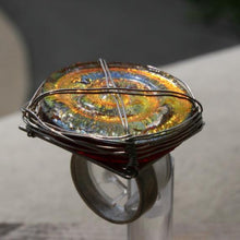 Load image into Gallery viewer, Sterling silver with fused dichroic glass ring - Zulasurfing Jewelry  - 3