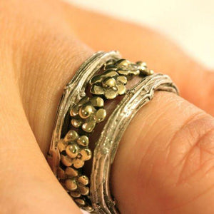 Silver Daisy and Branch Stack Ring Set - Zulasurfing Jewelry  - 1