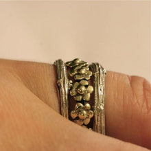 Load image into Gallery viewer, Silver Daisy and Branch Stack Ring Set - Zulasurfing Jewelry  - 2