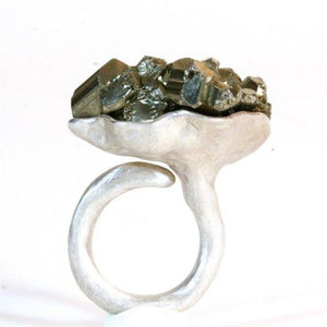 925 Sterling Silver and Pyrite Ring - Zulasurfing Jewelry  - 1