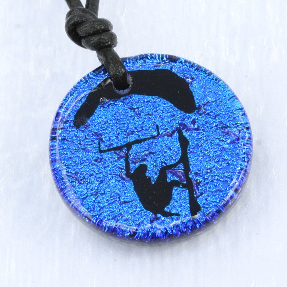 Surfer Necklace with Dichroic Glass Windsurfing Sail and Board Pendant - Zulasurfing Jewelry  - 3