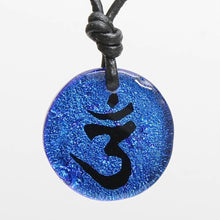 Load image into Gallery viewer, Dichroic Glass pendant OM Yoga Reiki pendant - Zulasurfing Jewelry  - 2