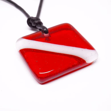scuba diving fused glass necklace
