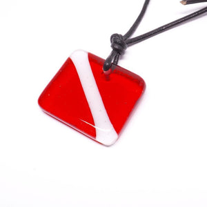 scuba diving down flag necklace