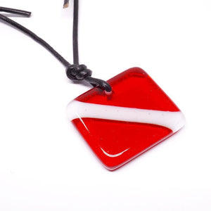 scuba diving flag pendant fused glass