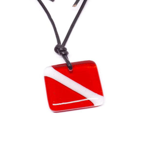 scuba necklace fused glass pendant