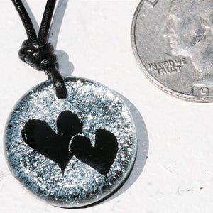 2 Heart Charm Dichroic Glass Pendant Love Jewelry Art - Zulasurfing Jewelry  - 1
