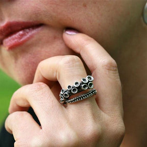 Octopus tentacle adjustable white brass ring - Zulasurfing Jewelry  - 2