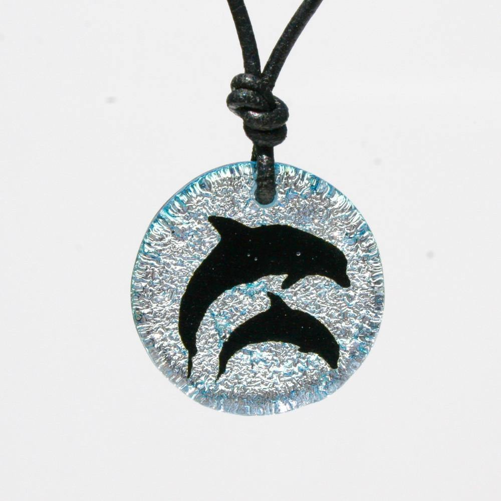 Dichroic Glass Dolphin necklace - Zulasurfing Jewelry  - 3